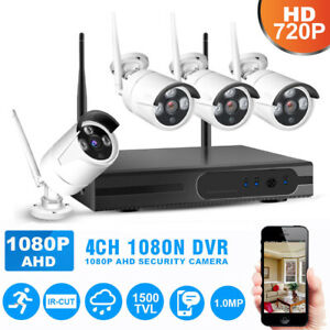 4CH-1080P-NVR-Wifi-Wireless-720P-Camera-Outdoor-Surveillance-Security-System-US
