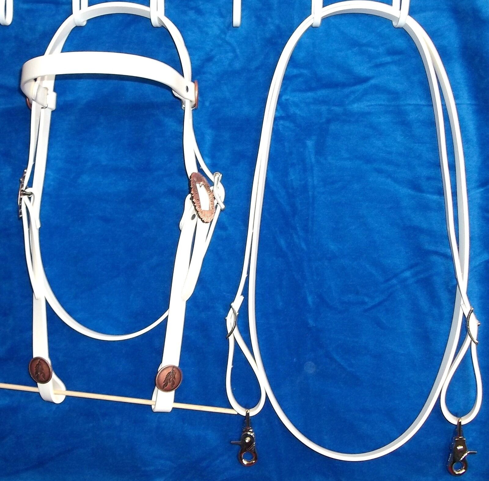 Bridle Headstall Loop Rein White Beta Biothane Reins  Barrel Race copper feather  new branded