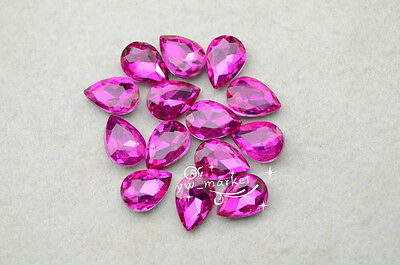 100 PCS 10mm x 14mm Colour Glass Faceted Glass Tear Drop Jewels
