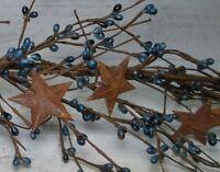 "52"" WIlliamsburg Blue Pip Berry Garland w/ Rusty Stars --- primitive"