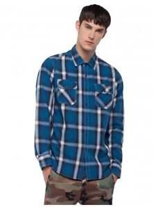 REPLAY-Printed-Cotton-Shirt-Blue-White-Black-check