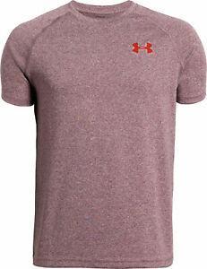 Under-Armour-Tech-Junior-Boys-Training-Top-Red-Short-Sleeve-Sports-T-Shirt-Youth