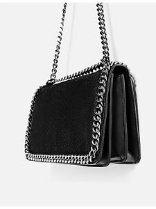 ec15842376 Details about ZARA NEW SS 2018 CROSSBODY BAG WITH EMBOSSED CHAIN BLACK REF.  8132/104