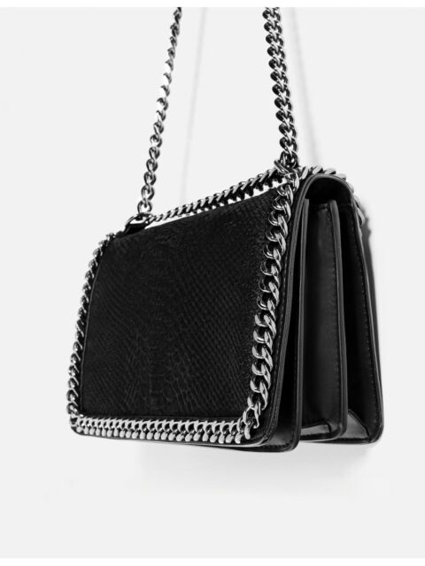 85931e53ef9 ZARA NEW SS 2018 CROSSBODY BAG WITH EMBOSSED CHAIN BLACK REF. 8132/104