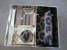 Coach Leopard Print 3 PC Cosmetic Gift Set 39426 Makeup Bag Mirror Hair Band
