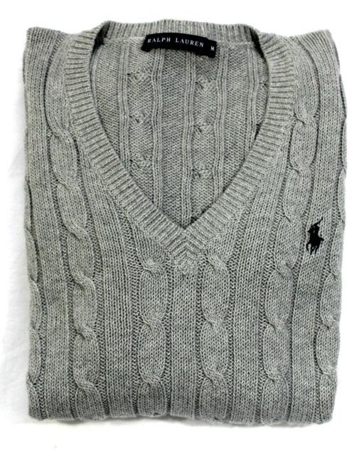 71e572c57bb51 Ralph Lauren Women s Ladies Cable Knit Cotton V Neck Jumper Grey Xs ...