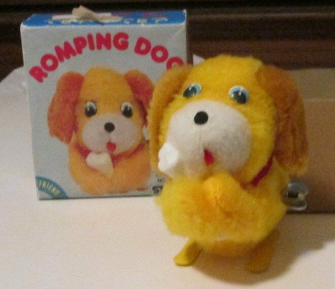 Vintage Plush ROMPING Friend DOG wind-up walking toy 4.5 , made in Japan, in box