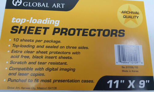 """10 pack of 11/"""" X 9/"""" clear photo sheet protectors presentation cases notebooks"""
