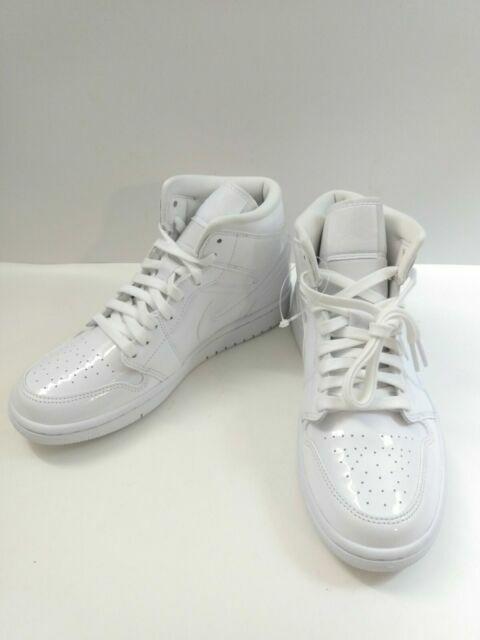 Nike Air Jordan 1 Mid Triple White Patent Leather Women's Basketball Shoes  - White, US 8