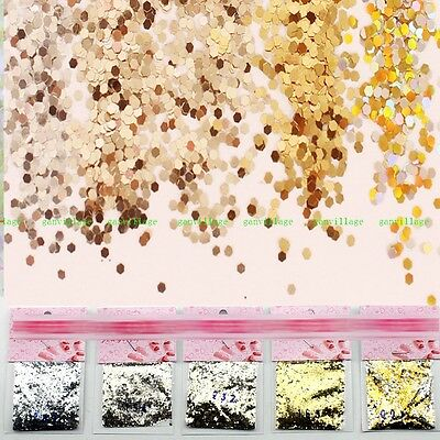 5 Pcs/set Champagne Silver Gradient Glitter Sequins For Acrylic UV Gel Nail Art