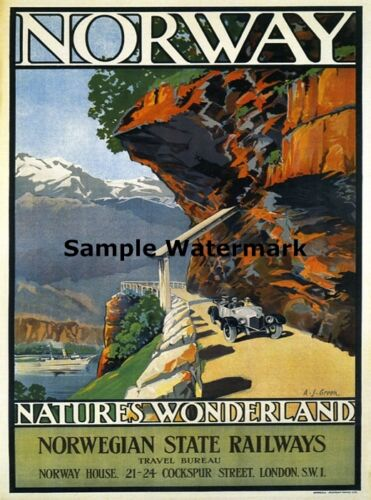 NORWAY Nature Wonderland Europe Tourism Travel Fine Vintage Poster Repo FREE S//H