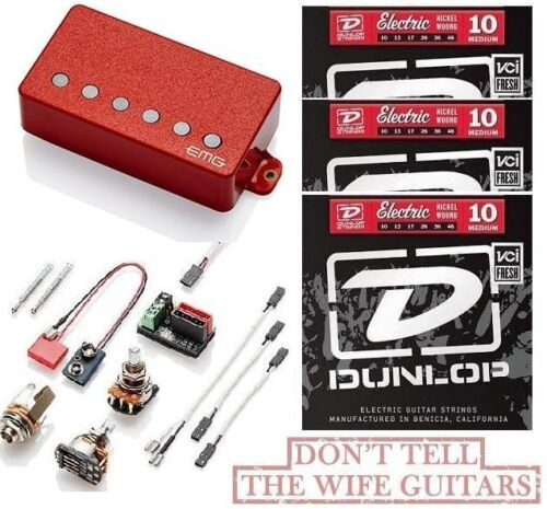EMG F 57 RED HUMBUCKER FLOYD SPACED BRIDGE SHORT SHAFT POTS 3 STRING SETS