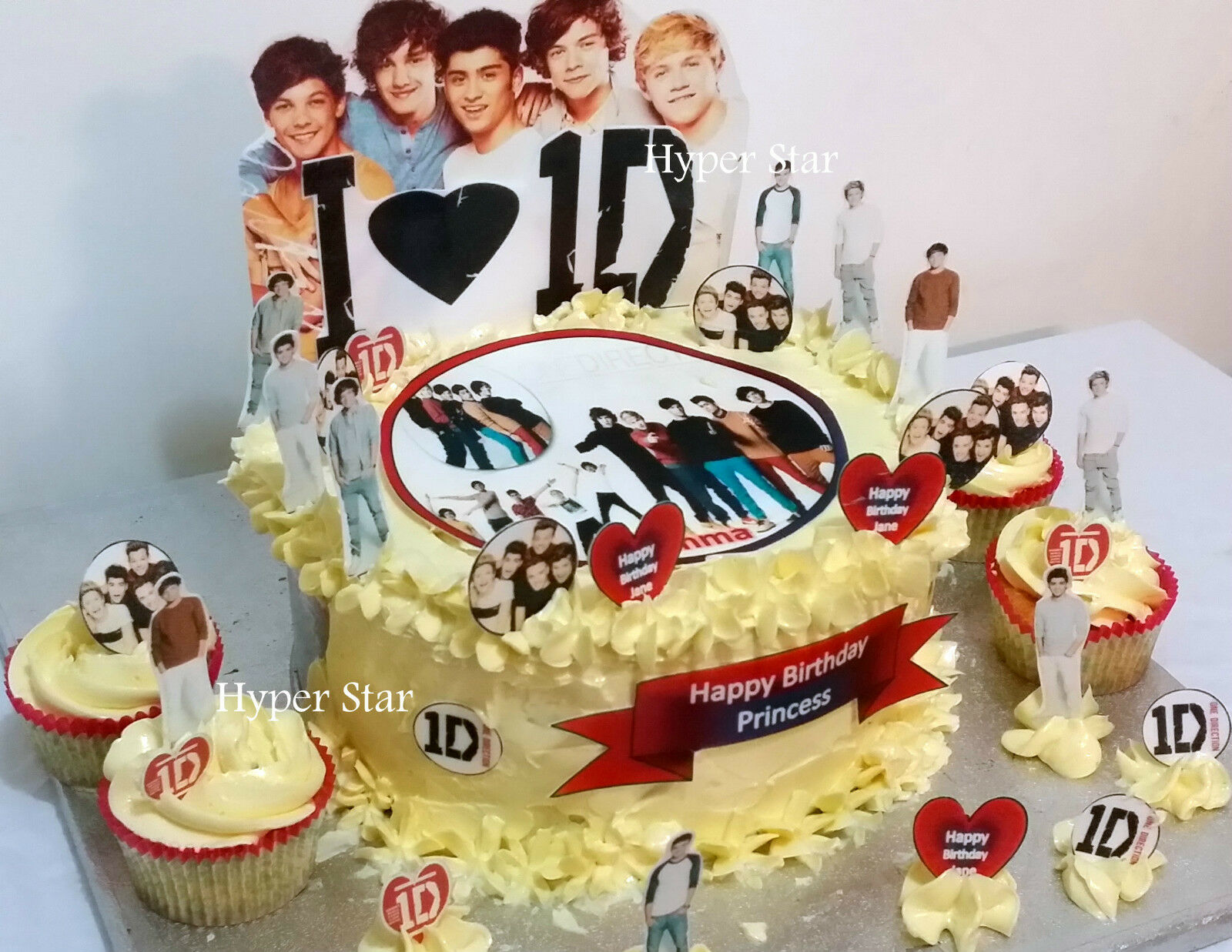 Excellent 1D One Direction Cup Cake Standup Scene Topper Wafer Edible Personalised Birthday Cards Paralily Jamesorg