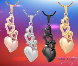 New-Stacked-Hearts-Love-Heart-Urn-Cremation-Pendant-Ashes-Memorial-Necklace