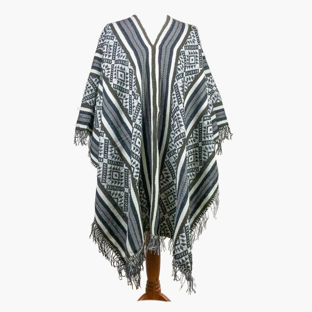 Poncho Shaman Gray, Peruvian traditional wool blend poncho bohemian