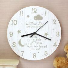 Personalised Twinkle Twinkle Shabby Chic Wooden Clock Nursery Christening Gift