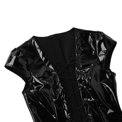 Women Deep V Bodysuit PVC Leather Zipper Crotch Leotard Catsuit Clubwear Costume