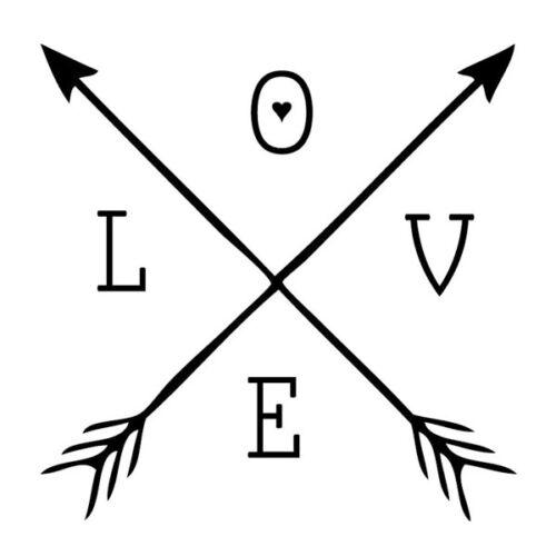Love Arrow Cross Decal Diecut Vinyl Sticker Car Window Wall Iphone Cute Mural