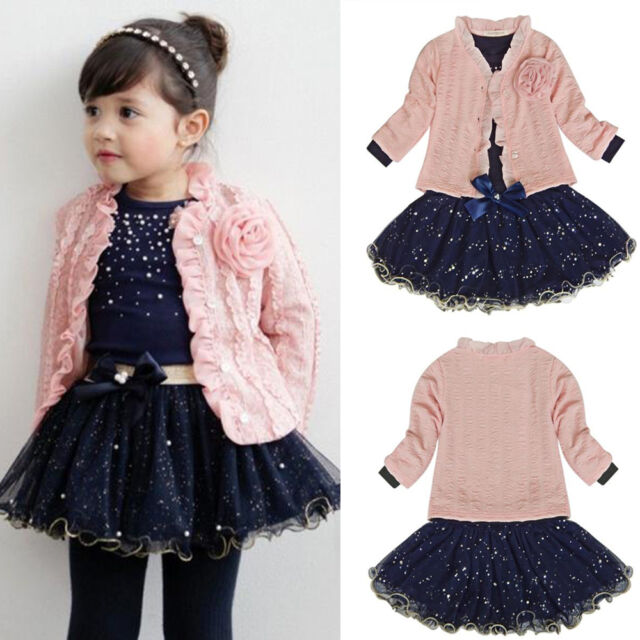 3pcs Baby Girls Top Coat+T-shirt+Skirt Dress Tutu Princess Clothes Set Suit Pink