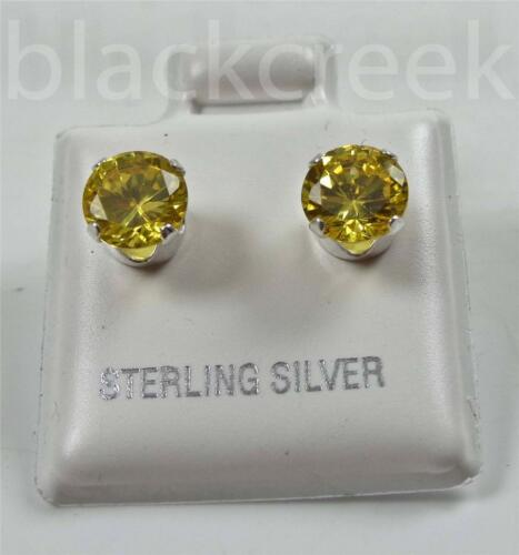 925 Sterling Silver ~ 7mm Round Sparkling CZ Solitaire Earrings ~ Select Color