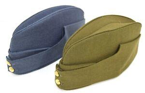 British-Military-1940-039-s-Side-Cap-Army-RAF-Kings-Crown-WW2-Chip-Forage-Hat-Cap