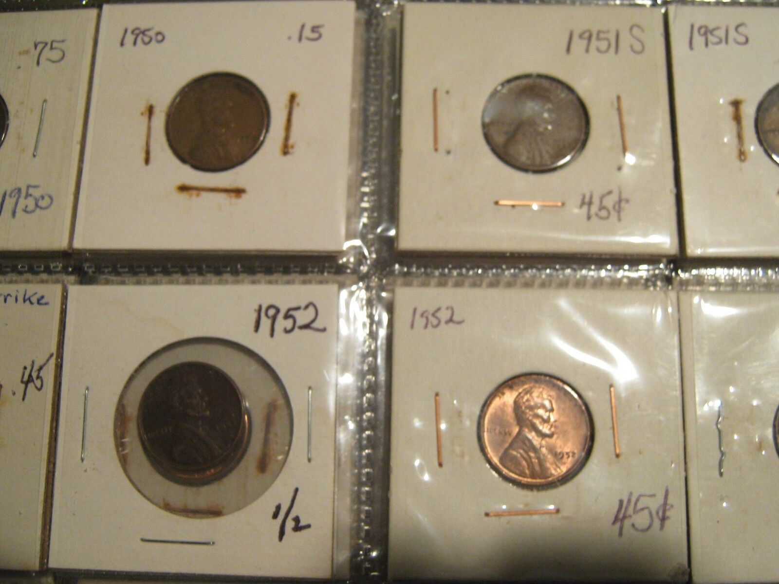 Lincoln Cent , 1949-1959 , Lot of 80 Circulated Coins