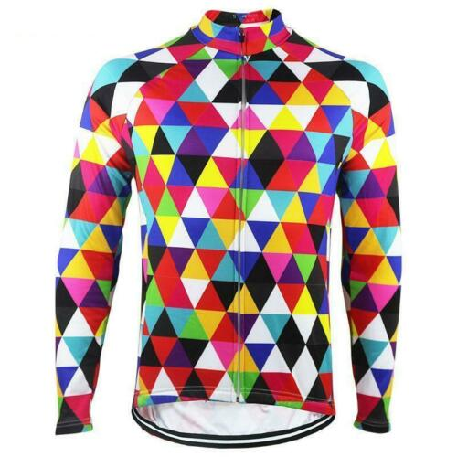 High Vis Color Triangles Long Sleeve Cycling Jersey