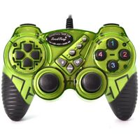 Green Wired USB Gamepad Double Shock Game Controller Joystick for PC Computer