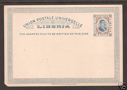 Liberia von Saleski X5 mint 1882 3c Postal Card