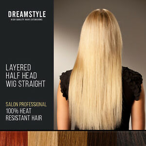 18-Inch-Half-Wig-Layered-Clip-In-Hair-Extensions-Silky-Straight-Blonde