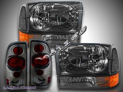 99-04 Ford F250 F350 Super Duty Pickup Black Headlights Set /& Tail Lights Smoke