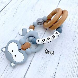 baby gift Personalised  baby girl  wooden  teething toy