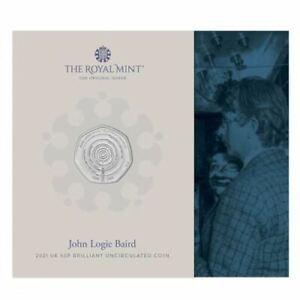 John Logie Baird 2021 UK 50p Brilliant Handgehoben Münze