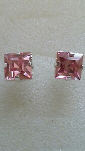 Lovely-8mm-Square-Stud-Earrings-using-Swarovski-Light-Rose-Made-in-UK