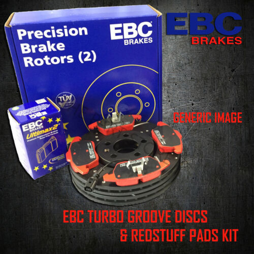NEW EBC 300mm REAR TURBO GROOVE GD DISCS AND REDSTUFF PADS KIT PD12KR050