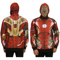 Marvel Iron Man Stark Hoodie Hoody Mesh Face Zip Hood Hooed Sweatshirt M-xl
