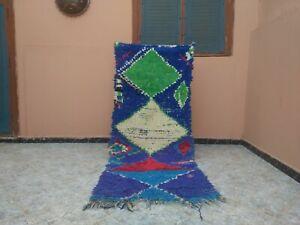 "Handmade Vintage Moroccan Carpet,2'75"" x 6'72"" Feet,Berber Azilal Blue Green Rug"