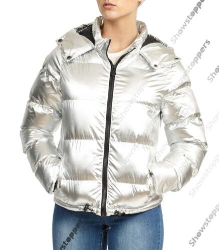 Silver Jacket 8 10 16 Coat 12 Parka 14 Metallic Polstret Kvinders Størrelse Quilted AHqzxx