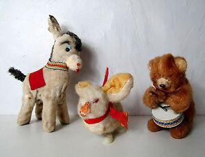 Anciens-jouets-mecaniques-ane-lapin-ours-musicien