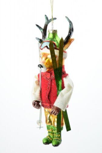 Hoff Skiing Deer Rentier Weihnachtsschmuck Christbaumschmuck