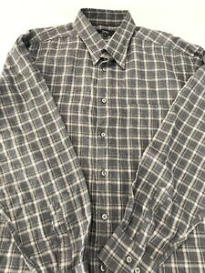 Zanella-Mens-Plaid-Gray-Button-Up-Shirt-Soft-Flannel-Sz-XXL-2-XL-Made-In-Italy