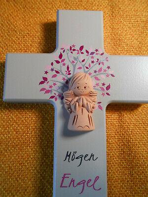 Kinderkreuz mit Tonengel Taufe Geburt Kommunion Motiv Lebensbaum rosa Holzkreuz