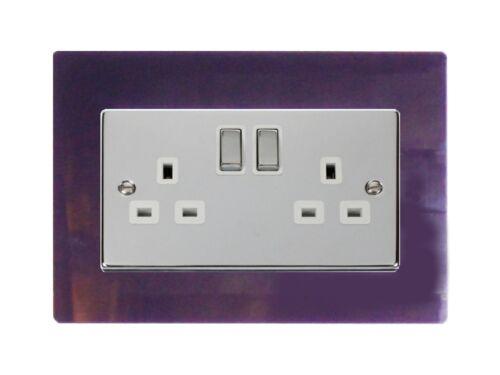 Double interrupteur de lumière prise de doigt acrylique surround 10 couleurs gratuit p /& p