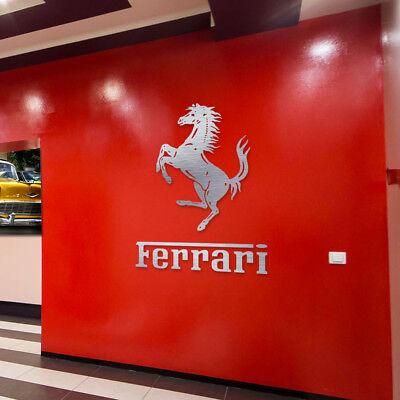 Ferrari Sign Garage Letters Brushed Silver Aluminum Gift Logo 2 Feet Ebay
