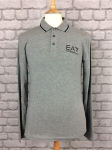 EA7-EMPORIO-ARMANI-MENS-UK-S-GREY-LONG-SLEEVE-POLO-SHIRT-DESIGNER-CASUAL-SMART