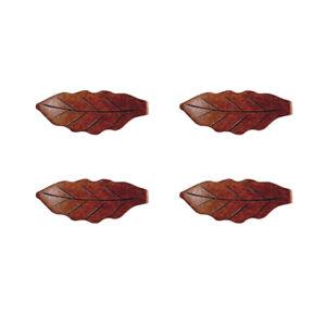4pcs Wooden Cute Fish Leaf Chopsticks Stand Rest Rack Spoon Holder Tableware