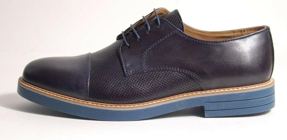 Acc Fait A La Main Italien Chaussure à Lacets Casquette Orteil Bleu 605