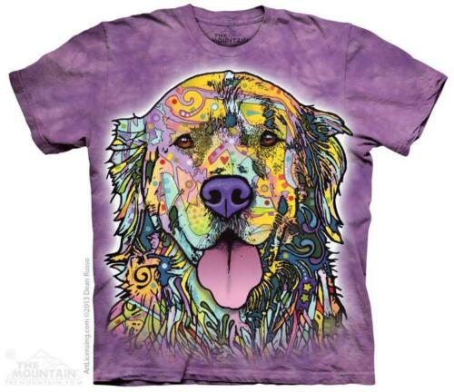 All Sizes 3855 Russo Colorful Painted Golden Retriever The Mountain T-Shirt