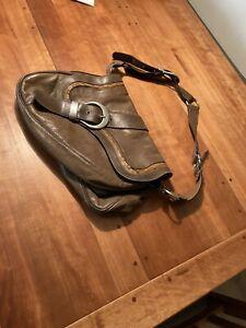 Christian-Dior-Gaucho-Tasche-Handbag-Khaki-leder-Vintage