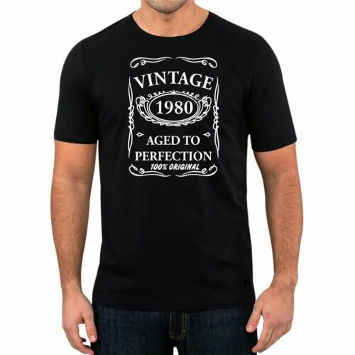 40th Birthday Present Gift Year 1980 Aged To Perfection Funny T-Shirt Unisex Tee